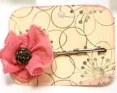 Ribbon Flower Barette Bobby Pin with Vintage Button center