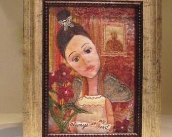 Fiber Art Quilt Art Angel Painting, Always in My Heart