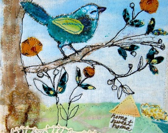 Fiber Art, Fabric Collage, Quilt Art, Bird in Tree, Home Sweet Home