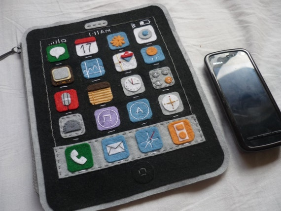 THE ORIGINAL Apple 3G i-Phone felt purse/ handbag - NEW MODEL- 18 X 14 cm