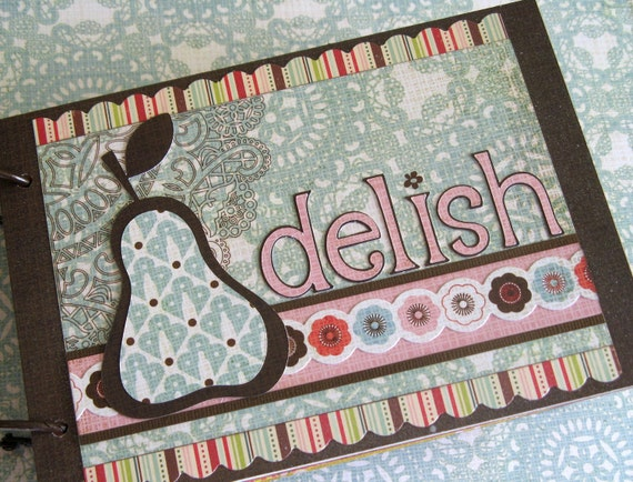 Delish Recipes- Premade Scrapbook Album-Turquoise/Blue