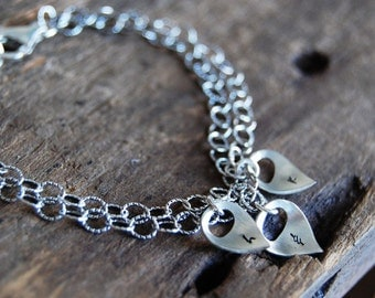 My Buds Tiny Lotus Petals Bracelet - Double Chain with Custom Lower Case Initials with Three Petals