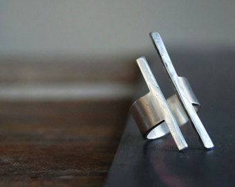 Balancing Act Ring- Square Bar Ring- Modern Rough Cut Sterling Band