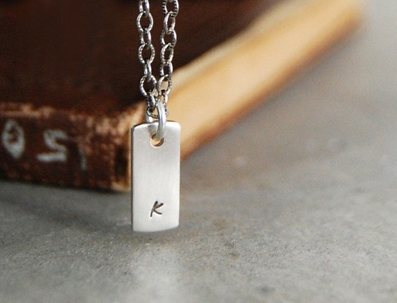 Itsy Bitsy Tiny Weeny Lower Case Initial Tag Necklace - Personalized