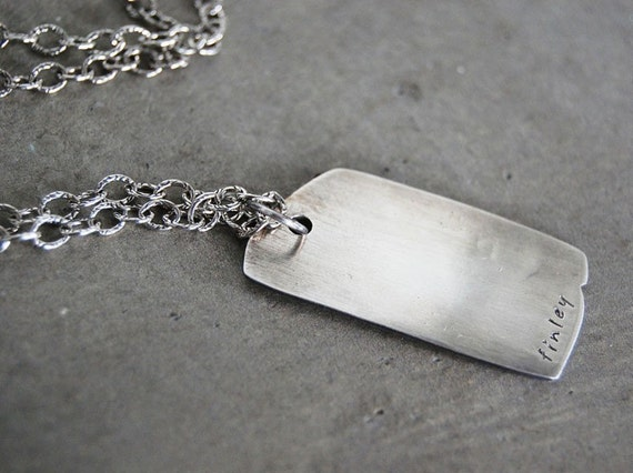 Rustic, Rough Edge Dog Tag Necklace - Personalized with Names, Date or Initials. Father's Necklace, Gift for Dad.