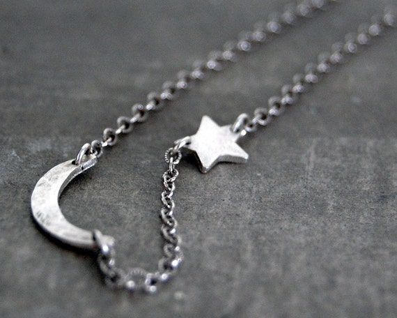 RESERVED for Tracy- Tiny Rustic Crescent Moon and Star Necklace
