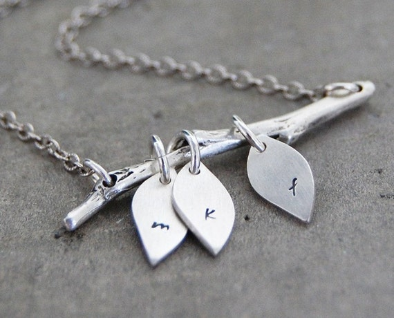 Family Tree Initial Necklace, The Original - Personalized Custom Lower Case Initials on Three Leaves- Family Necklace