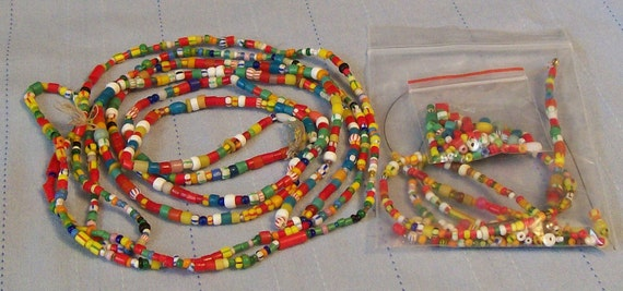 B1 B5 T1-1...African Trade Beads...Christmas Style...Three Long Strands