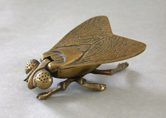 The Fly -- Vintage Brass Paperweight 3.5 Inches Hinged Lid