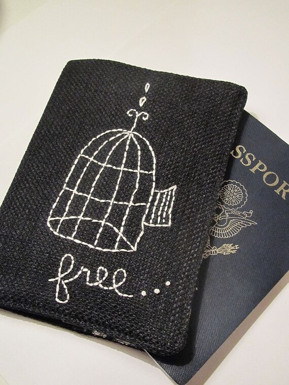 Free as a Bird, Passport Cover, Hand Embroidered, Black and White, Free Shipping
