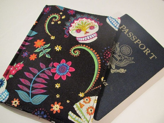 Passport Cover Grinning Sugar Skull  for your World Travels, Free Worldwide Shipping