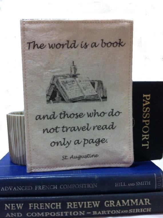 Passport Cover, Passport Holder The World is a Book....