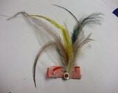 Emu Feather Hair Glamour Alligator clip PInk Green, heather.