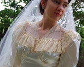 1940s Vintage Wedding Dress and Veil Satin & Lace