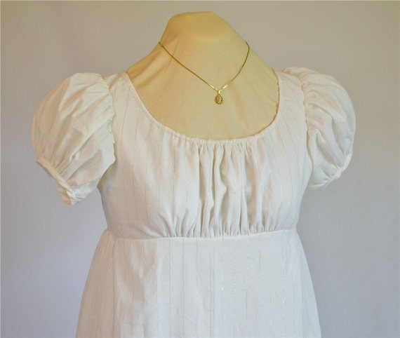 Regency Dress White and Gold Jane Austen Ball Gown Size 4/6