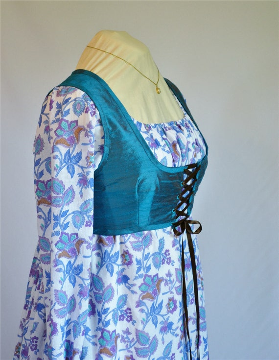 Regency Dress - Ready to Ship - Bright Blue Floral Sheer Size 12