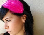 hot pink feather headband or hair clip - bohemian feather fascinator - feather hair piece - women's hair accessory - boho style - MAGGIE