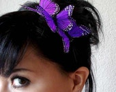 butterfly headband - butterfly hair accessory - bohemian hair accessory - purple butterfly hair piece - whimsical headband - HERMIONE
