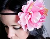 hippie flower headband - pink peony flower hippie headband - floral headband - women's hair accessory - bohemian accessory - DELILAH