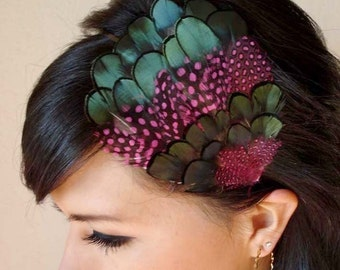 feather headband - feather fascinator - pink with iridescent green feather headband or hair clip - bohemian feather fascinator - PAULINE