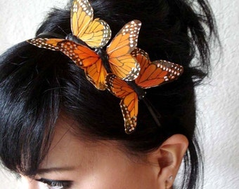 butterfly headband - butterfly hair accessory - bohemian hair accessory - feather butterfly hair piece - whimsical headband - MARISSA