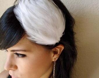 white feather headband or hair clip - bohemian feather fascinator - bridal hair piece - bohemian hair accessory - vintage style - ELEANOR