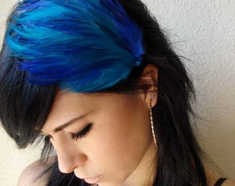 royal blue and turquoise feather headband or hair clip - bohemian feather fascinator - feather hair piece - women's hair accessory - LUCY
