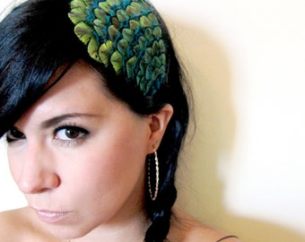peacock feather headband or hair clip - blue and green feather headband - hair accessories for women - bohemian feather fascinator - MARILYN