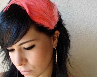 feather headband - coral feather headband or hair clip - feather fascinator - bridesmaid hair accessory - women's gift - STRAWBERRY FIELDS