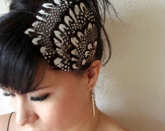 black and white feather headband or hair clip  - bohemian feather fascinator - feather hair piece - women's hair accessory - CATALINA