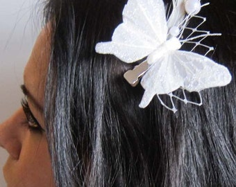 ALICIA - white feather butterfly with russian netting veil and pearl accent hair clip - bridal fascinator