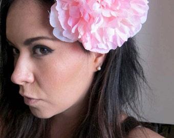 pink peony flower hair comb - bohemian hair accessory - pink floral hair piece - bohemian headpiece - women's flower head piece - RITA