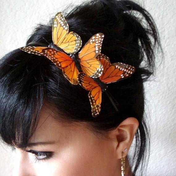 butterfly headband - butterfly hair accessory - bohemian hair accessory - feather butterfly hair piece - whimsical headband - MARISSA