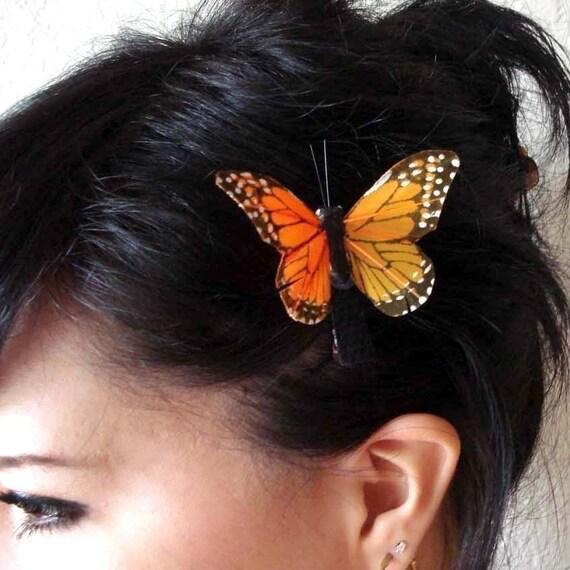 butterfly hair clip - monarch butterfly hair clip - bohemian hair accessory - orange butterfly clip - hair accessories for women - MARGARET