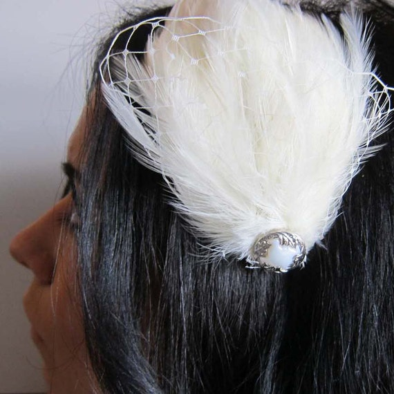 ISABELLA - ivory feathers and russian veil with vintage button bridal headband - bridal fascinator