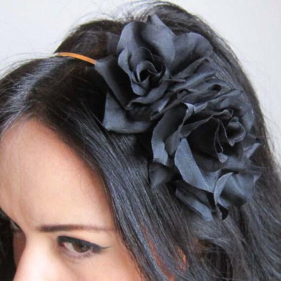 Black Flower Hair Accessory J7213: Black Roses Flower Headband Bohemian Hair Accessory Floral