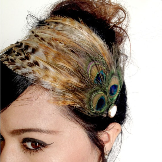 CLEMENTINE - natural brown feathers and three eye peacock feathers with vintage button - vintage inspired bohemian feather fascinator