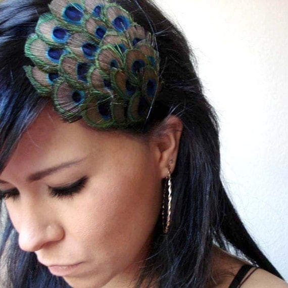 Penelope Eye Peacock Feather Hair Clip
