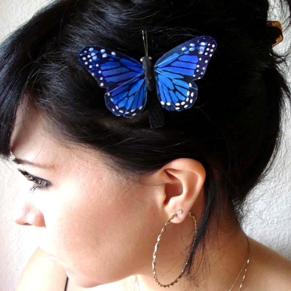 butterfly hair clip blue butterfly accessory butterfly