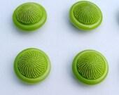FRESH GREEN - vintage hard to find buttons - set of 6 -1.5cm/half inch