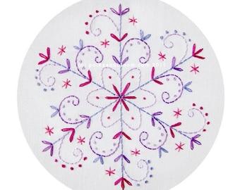 Embroidery Pattern Lilac Snowflake Christmas Winter PDF