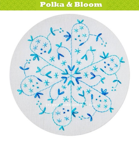 Embroidery Pattern Aqua Snowflake Christmas Winter PDF