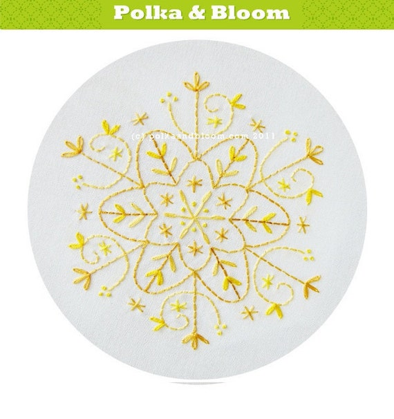 Embroidery Pattern Gold Snowflake Christmas Winter PDF