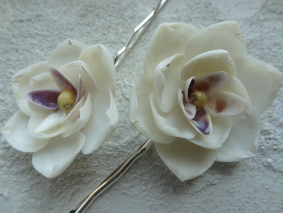 SHELL Hair Flowers: 2 Blossoms made with genuine White, Purple & Yellow Seashells