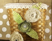 Shabby Chic inspired hanging basket with burlap roses