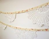 Cream Floral Doily Bunting
