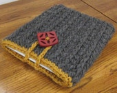 Gray and Mustard Ipad Netbook Notebook Computer Cover Sleeve in Chunky Wool with Fabulous Pierced Button