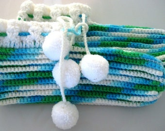 Knitted Booties in blue and green hombre yarn
