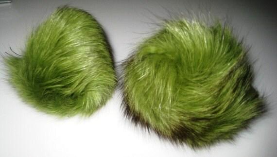 Green Fox Pom Pom Trim, fur trim, fox fur trim