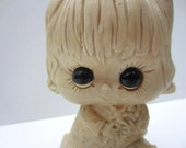 Vintage Kitschy Girl Statue with Big Eyes